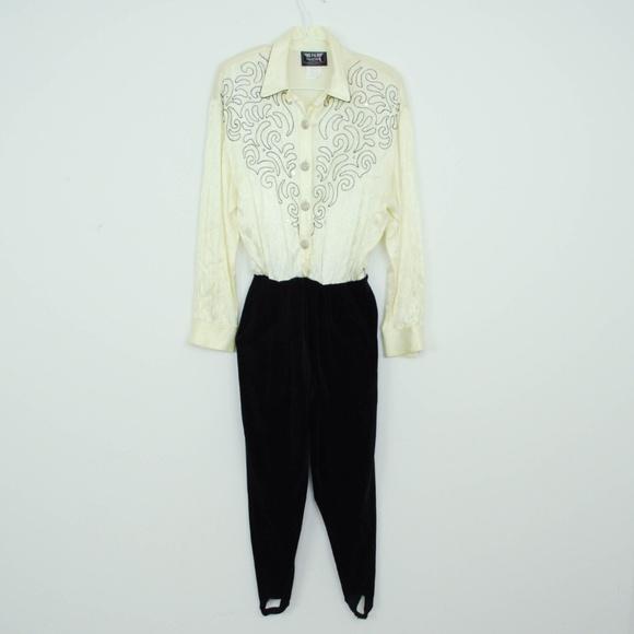 63275d34b48 Vintage 80s Jumpsuit Velvet Stirrup Rhinestones. M 5be47de7de6f629be4df2f1a